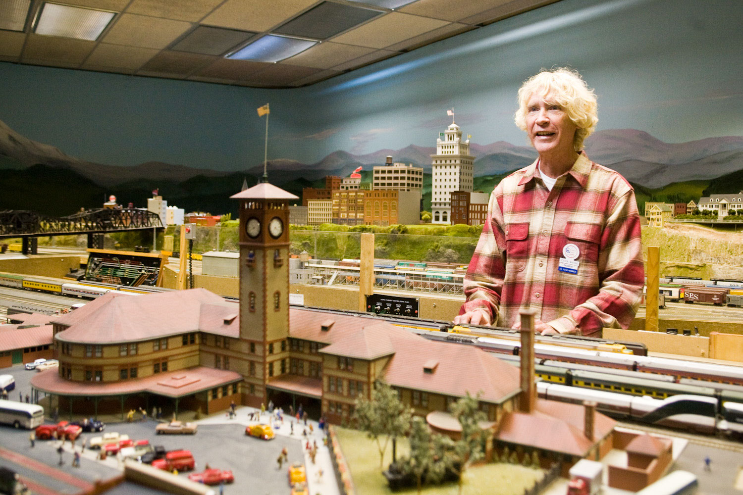 Columbia Gorge Model Railroad Club , Steven Watkins, in front of model trains