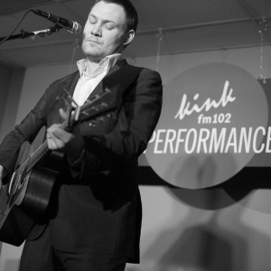 David Gray plays the guitar at the Live Performance Lounge