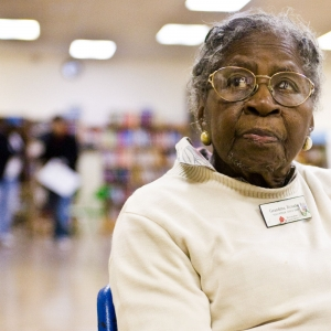 Grandma Rosalie sits at youth center