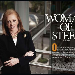 Tamar Lundgren President and CEO of Schnitzer Steel standing portrait