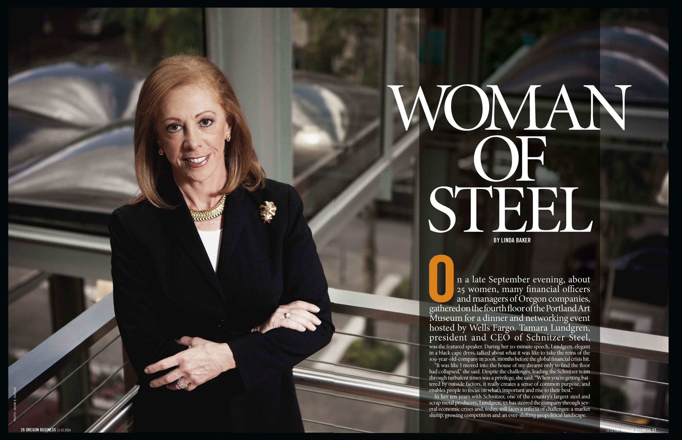 Tamar Lundgren President and CEO of Schnitzer Steel standing portrait