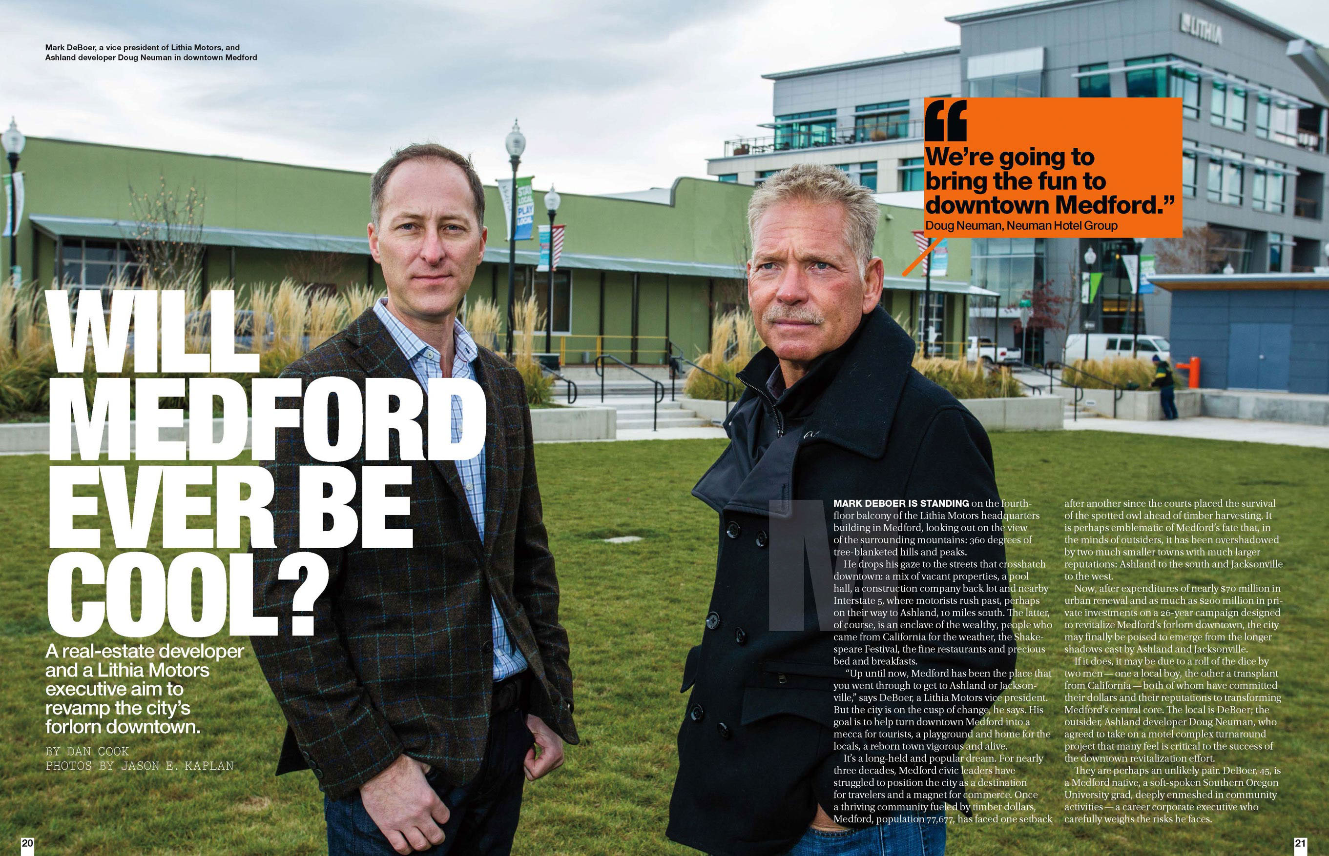 Will Medford Ever be Cool? Two businessmen stand outdoors