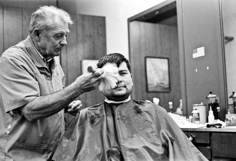 St. Johns Barber Shop man getting a haircut