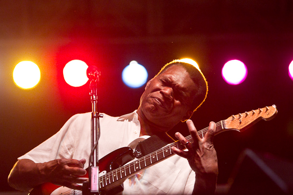 Robert Cray playing guitar at Portland OR Waterfront Blues Festival