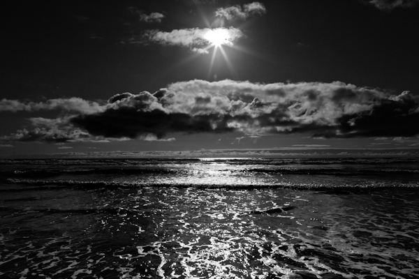 black-and-white-sunset-over-water