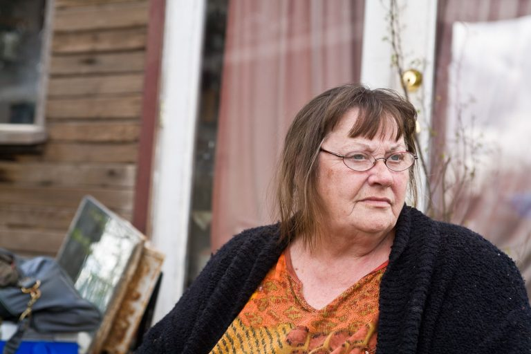 Portland Dignity Village Co-Founder Gaye Reyes is outside her home.